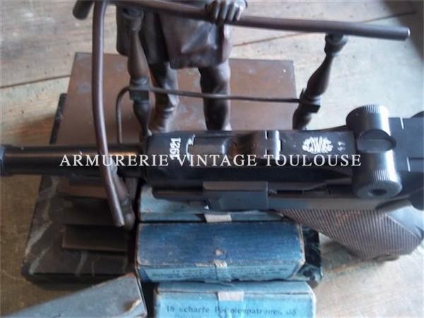 Pistolet P08/14 fabrication dwm 1921 / bronze représentant l'Empereur Guillaume