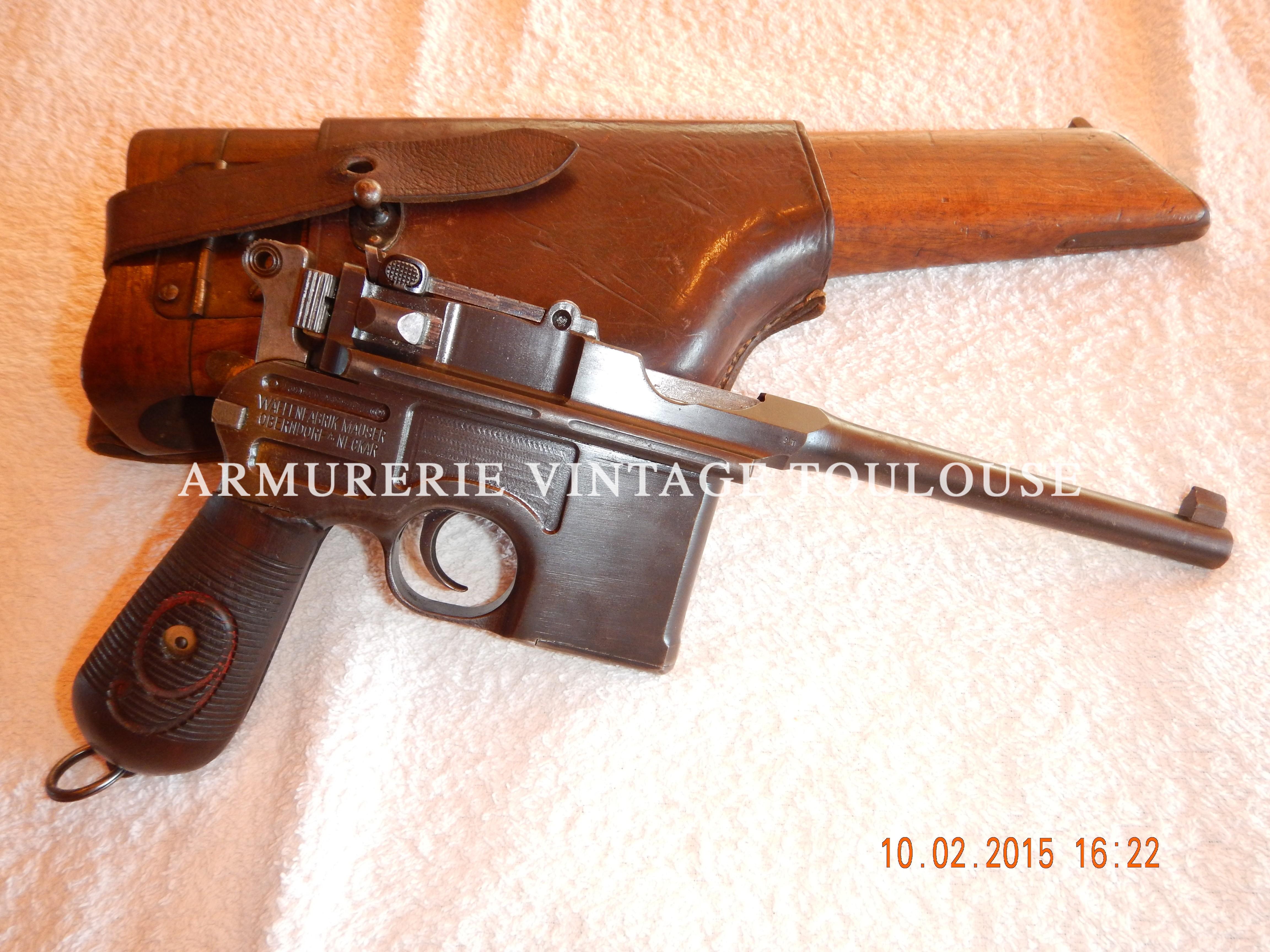 Rare et joli Pistolet Mauser C96 calibre 9X19 issu des 135 000 fabriqués entre 1916 et 1918.
