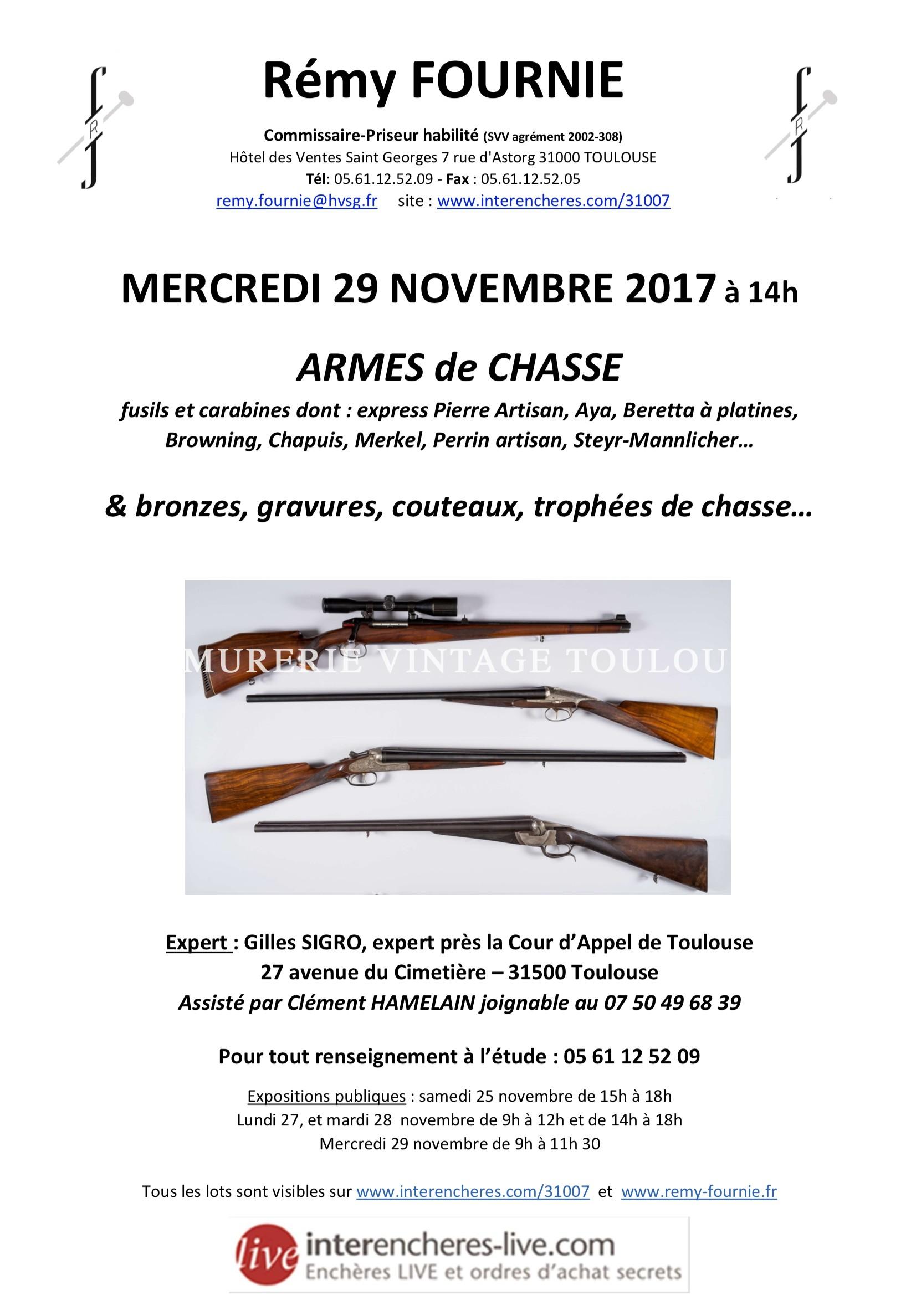 Vente aux enchères  chez maître Remy Fournié le 29 novembre 2017