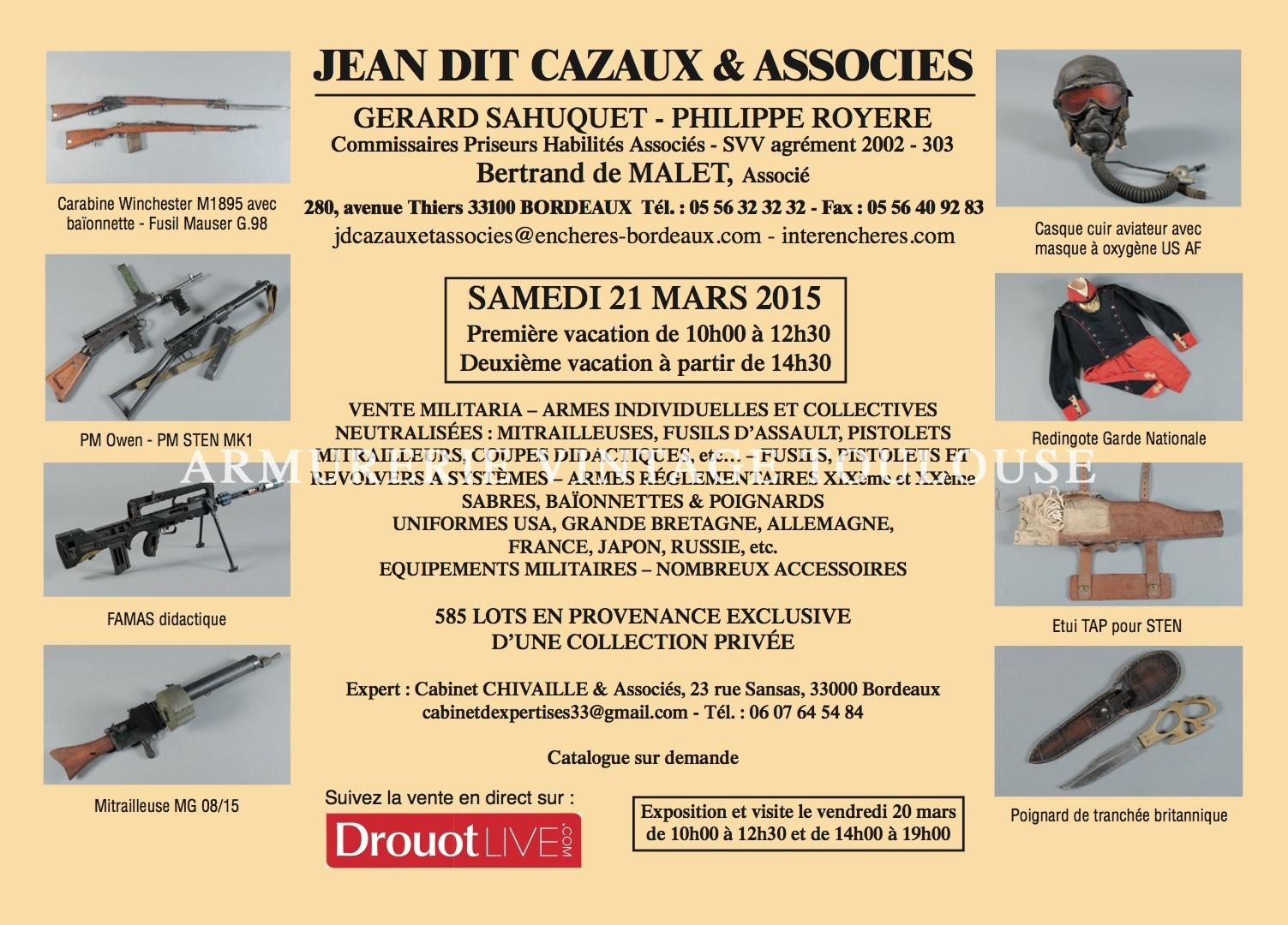 Vente aux enchères militaria qui aura lieu de 21 mars à Bordeaux