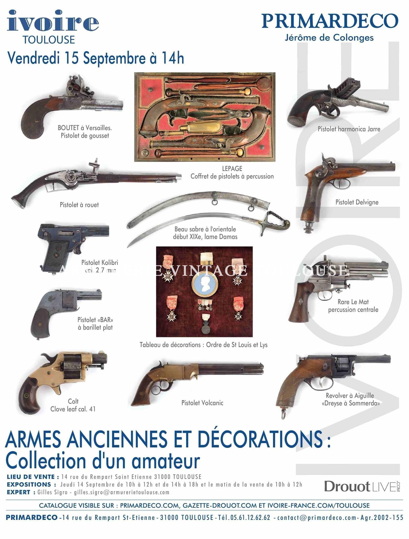 Belle vente d'armes anciennes, d'insignes et de décorations le 15 Septembre chez Primardeco