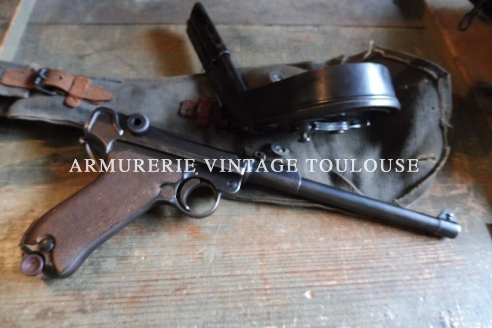 """Beau pistolet P08 artillerie calibre 9X19 fabrication """"dwm"""" à Berlin en 1917"""