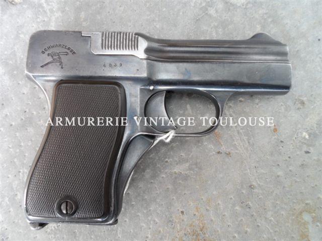 Rarissime pistolet Schwarloze 1908 calibre 7,65 (32ACP)