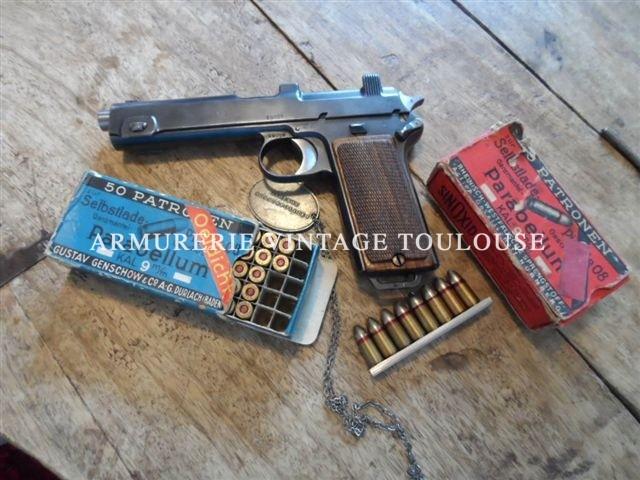 Rare Pistolet Autrichien Steyr-Hann 1912 transformé chez Mauser en 1940/1941 en calibre 9X19