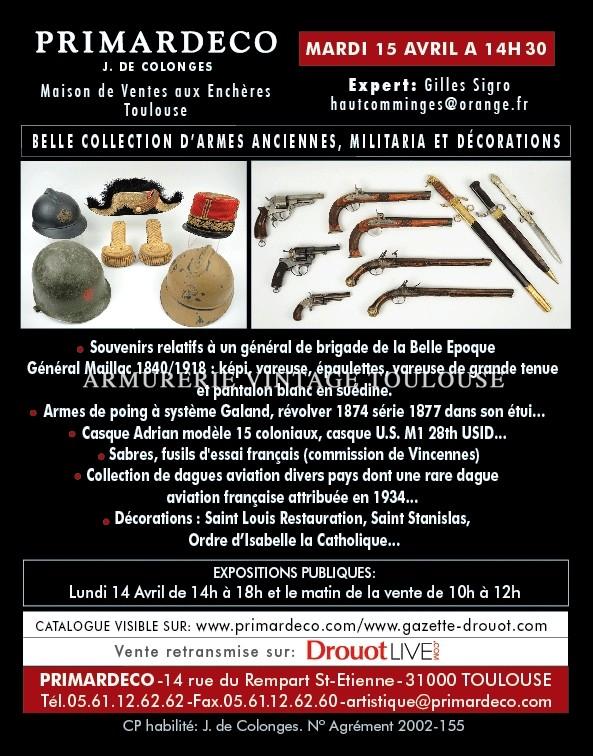 Vente aux enchères Armes anciennes, Militaria et  Décorations le 15 avril 2014 à 14H30