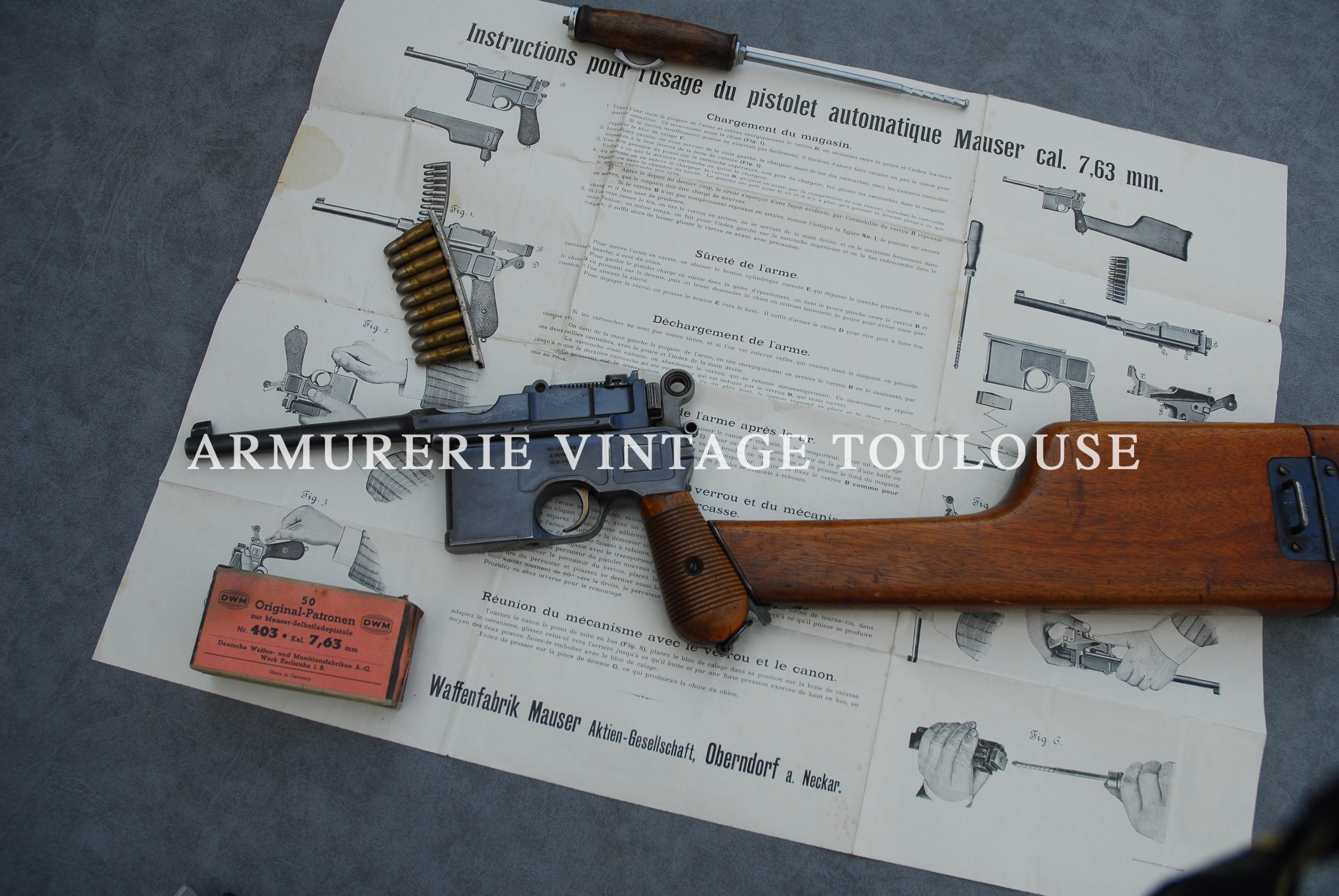 Rare pistolet Mauser C 96 primitif