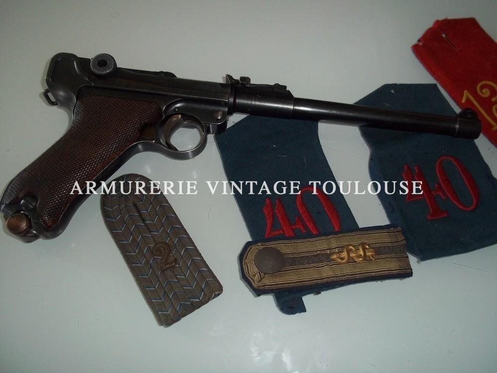 """Superbe P08 arti """"lange pistole"""" calibre 9X19 fabrication début 1917 (vis de réglage de Hausse et de guidon encore présentes)."""