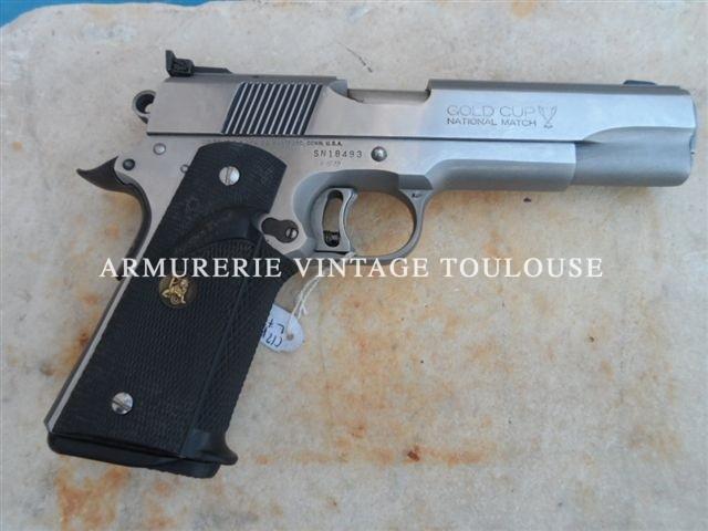 Pistolet Colt 1911 A1 préparé pour le tir calibre 45 ACP type national Match Gold cup