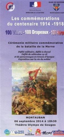 Les commémorationsdu centenaire 1914 – 1918 le 6 septembre 2014 à Montauban