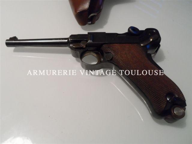 exceptionnel P08 dwm contrat Suisse mmodèle 1900 calibre 7,65 Parabellum dans son étui en cuir fauve