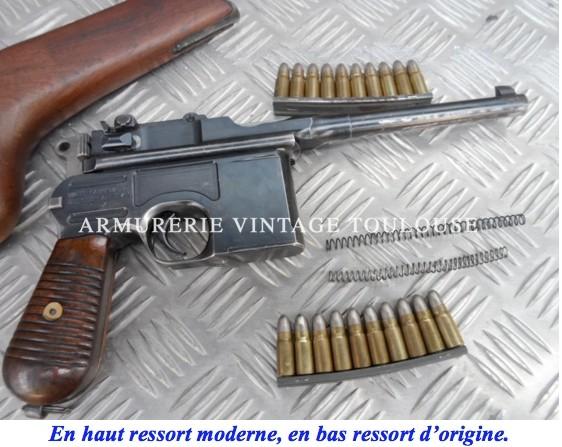 Ressort moderne de culasse pour pistolet Mauser C 96 calibre 7,63 Mauser et 9mm Parabellum et dérivés