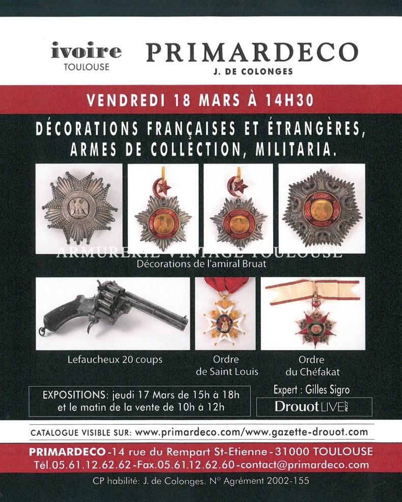 Belle vente d'armes anciennes de décorations et d'insignes à l'étude  PRIMARDECO le 18/03/2016 à 14h30