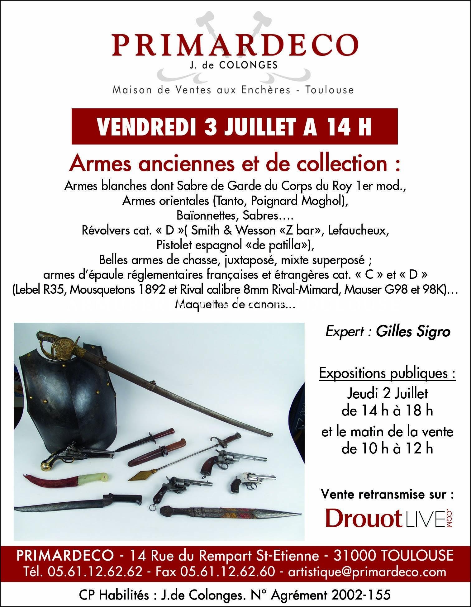 Vente aux enchères – Vendredi 3 Juillet à 14h – Armes anciennes et de collection