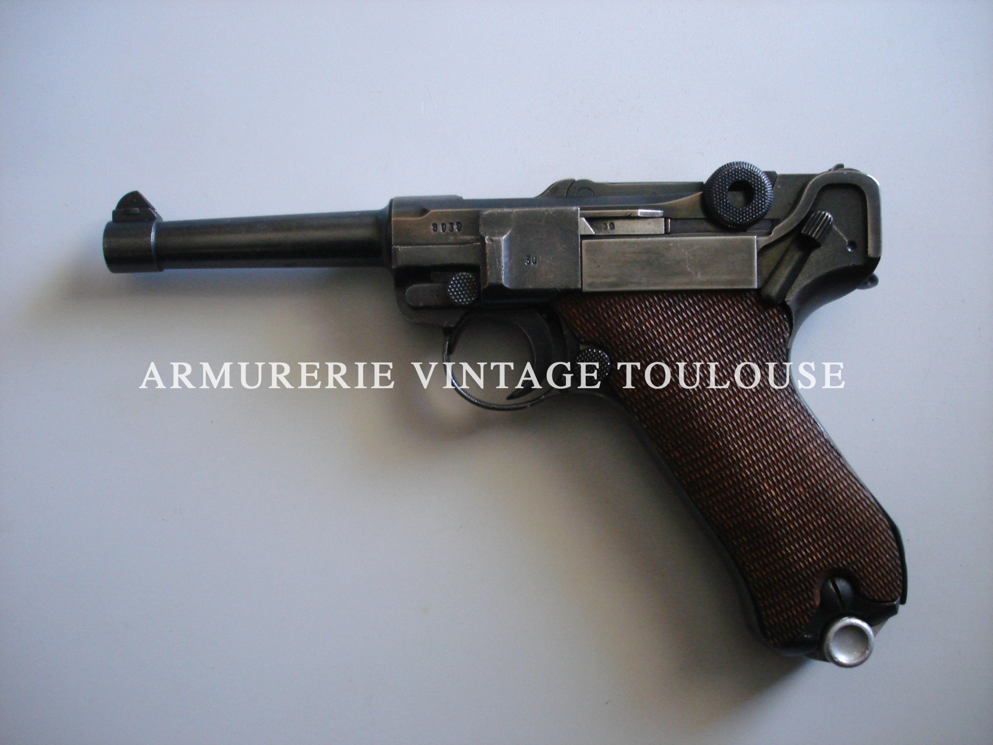 Pistolet P08 calibre 9X19 fabrication soignée par la firme Mauser en 1935