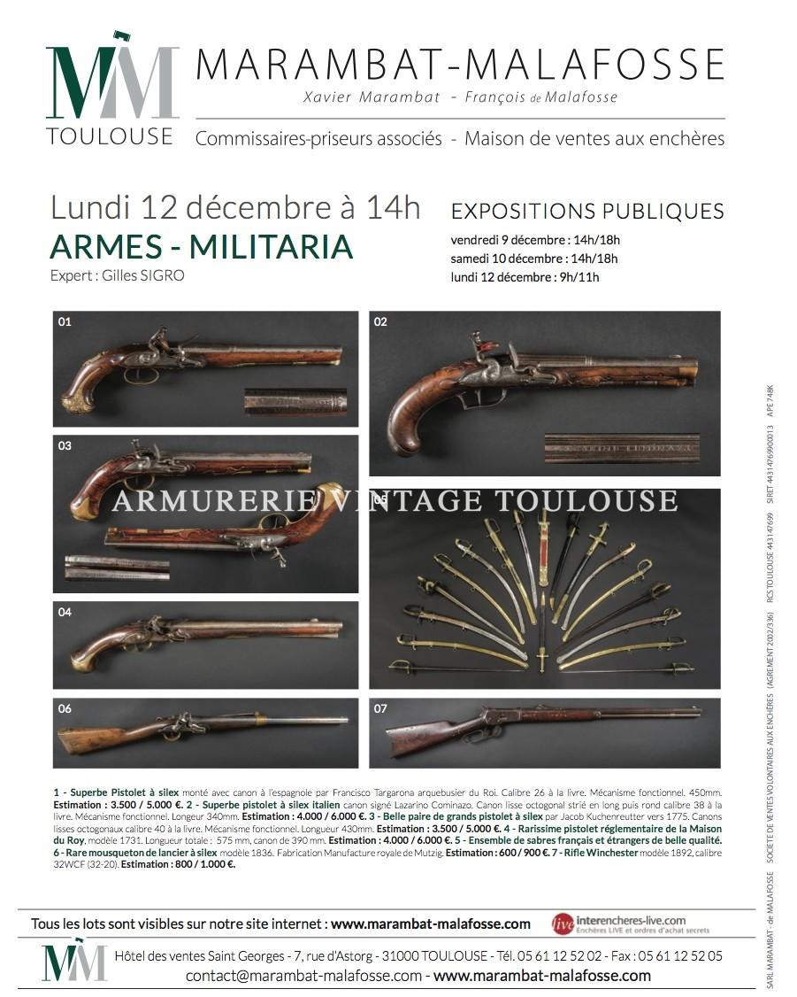VENTE AUX ENCHÈRES –  Lundi 12 décembre à 14h ARMES – MILITARIA