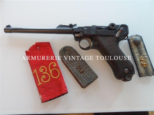 """Rare Pistolet P08 long (Arti) fabrication """"DWM"""" 1916 régimenté """"78.R.J.R.7.12."""""""