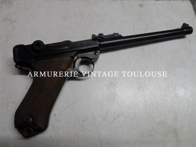 """Pistolet P08 long (arti) fabrication""""DWM"""" en parfait état d'origine"""