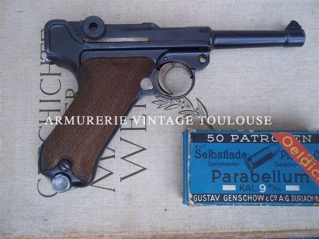 Bel ensemble constitué d'un pistolet P08 fabrication Mauser en 1936