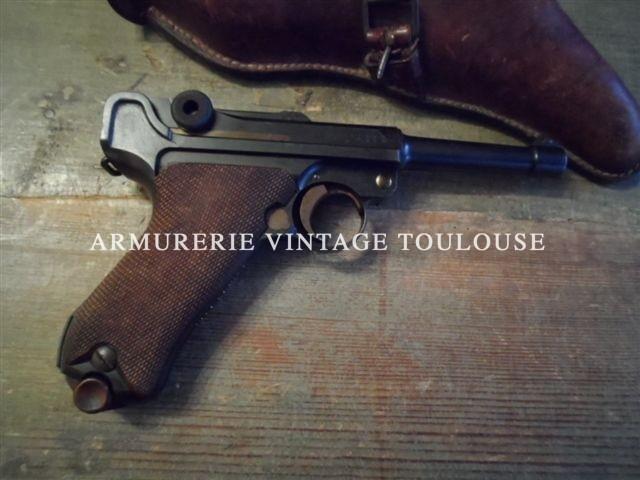 """pistolet P08/14 infanterie fabrication """"DWM"""" 1916 régimenté dans son étui cuir fauve"""