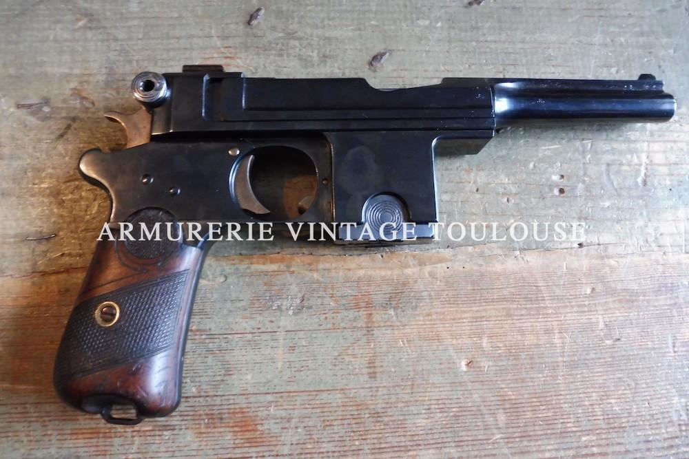 """Rare pistolet Bergmann-Bayard modèle 1908 fabrication """"Pieper"""" calibre 9 mm Bergmann (9 X 23)"""