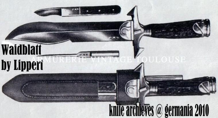 Couteau de chasse par Friedrich Karl Lippert dit Lipper Ceechen Waidblatt