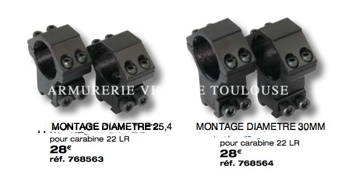 MONTAGE LUNETTE DIAMÈTRE 25,4 ET 30MM POUR CARABINE 22LR