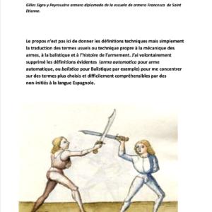 Lexique armurier Espagnol/Français